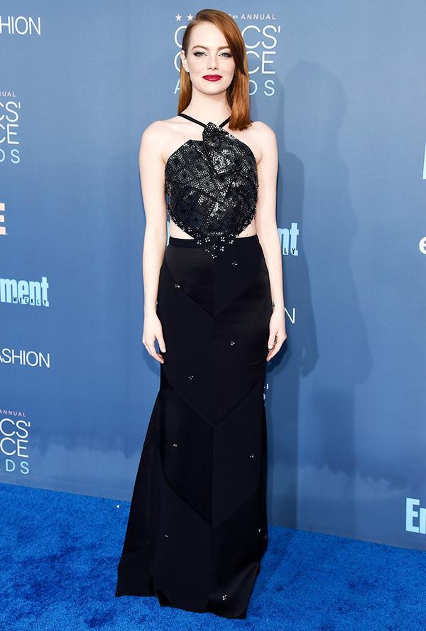 WHO: Emma Stone WEAR: Roland Mouret dress.