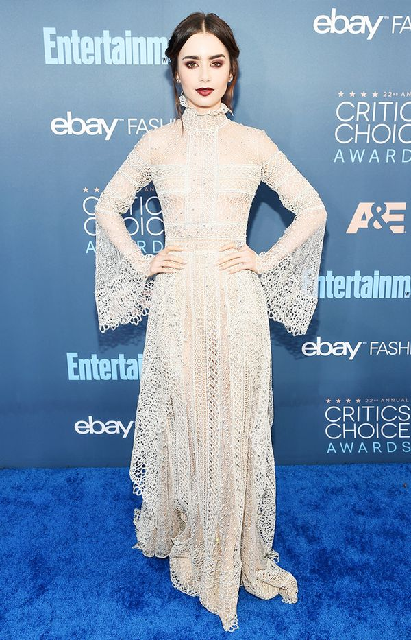 WHO: Lily Collins WEAR: Elie Saab Haute Couture S/S 16 dress.