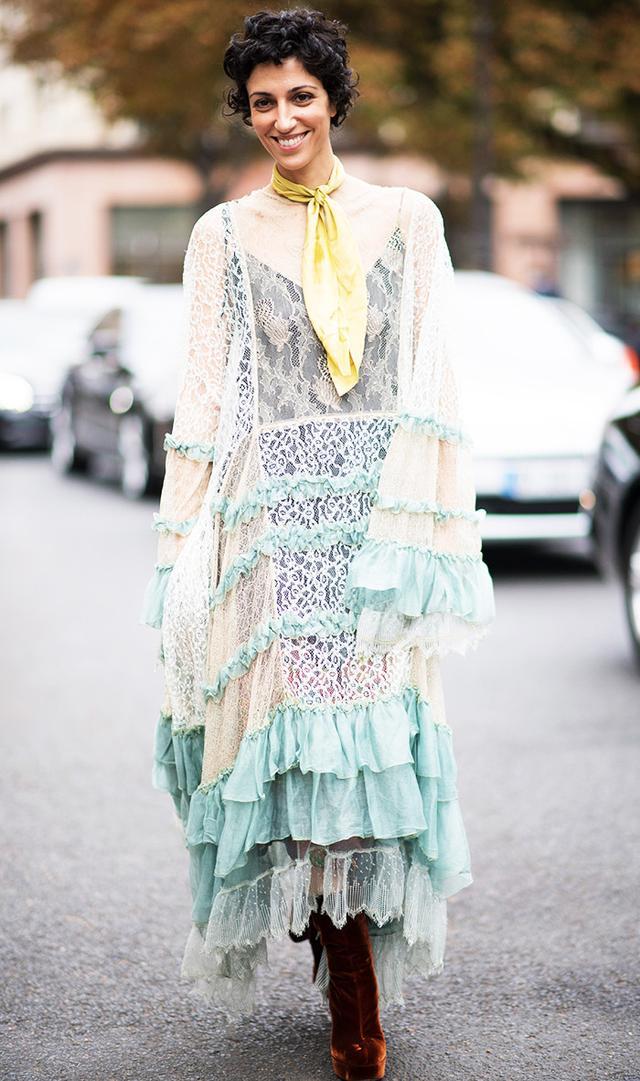 Yasmin Sewell in Chloé dress during Paris Fashion Week SS17