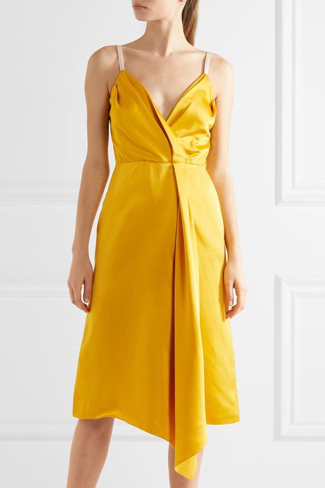 Victoria Beckham Draped Silk-Blend Satin Dress
