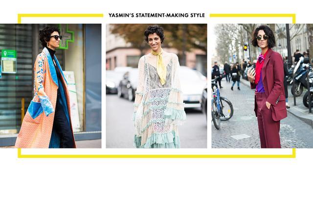 On Yasmin Sewell: Left: Chloé dress. Center: Hillier Bartley coat. Right: Gucci suit; Chloé bag.