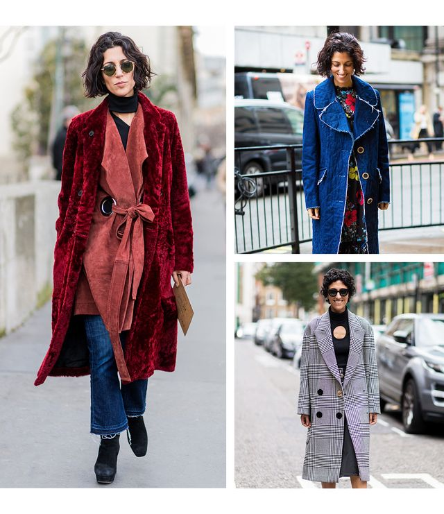 On Yasmin Sewell:Left:Joseph coat; Beaufille vest; M.i.h jeans. Upper right: Erdem dress. Lower right:Céline sunglasses; Petar Petrovcoat.
