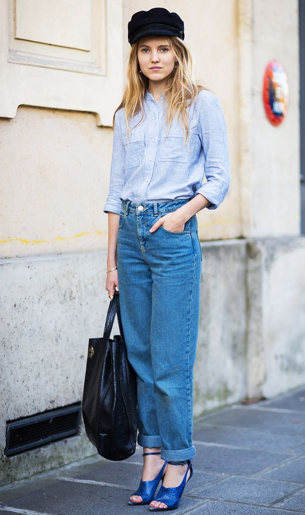 You can't go wrong with a classic button-down and blue jeans. Jazz it up with your favourite heels.