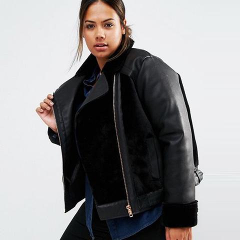 Faux Leather Biker Jacket With Fur Panels