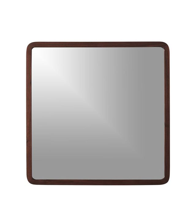 "CB2 Walnut 30"" Square Wall Mirror"