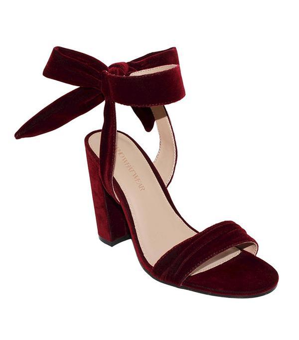 Who What Wear Michaela Velvet Ankle Tie Heels