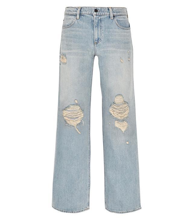 Alexander Wang Drag Distressed Wide-Leg Jeans