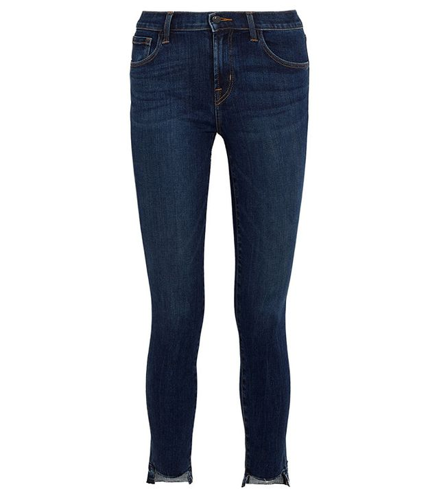 J Brand 811 Frayed Mid-Rise Skinny Jeans