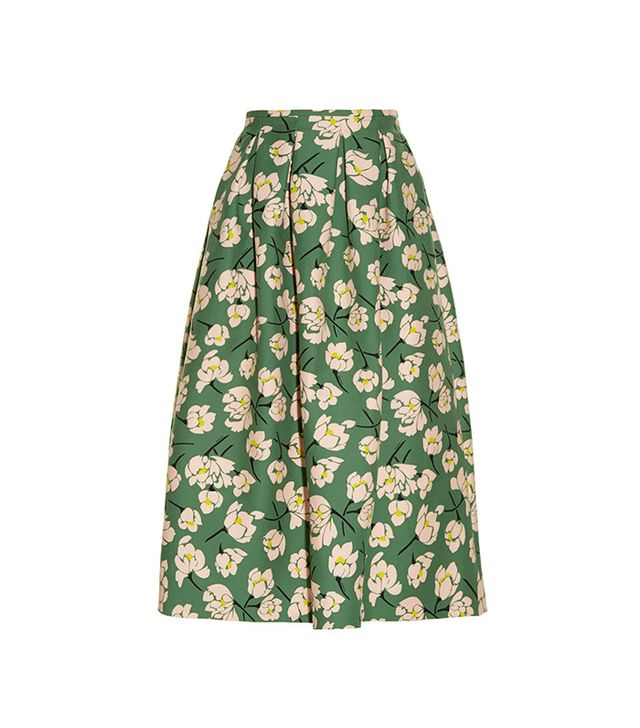 Rochas Magnolia-Print Duchess-Satin Midi Skirt