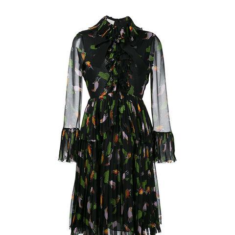 Toucan Print Ruffle Dress