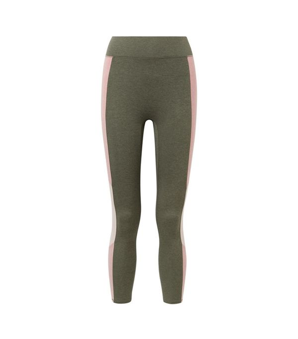 The Center Cropped Color-block Stretch-jersey Leggings