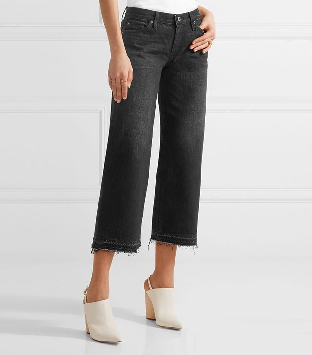 W005 Bora Cropped Frayed Mid-rise Wide-leg Jeans