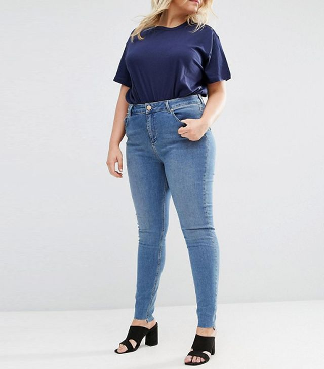 ASOS CURVE Lisbon Midrise Skinny Jeans In Lara Mid Stone Wash With Stepped Hem