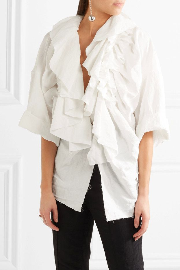 Ruffled Frayed Taffeta Blouse Carmen March