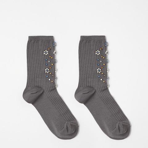 Rhinestone Crew Socks