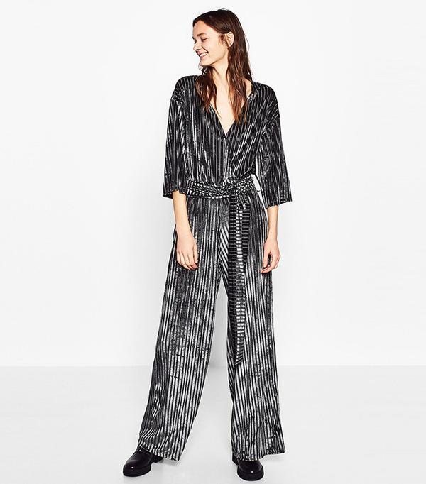 Zara Velvet Striped Jumpsuit