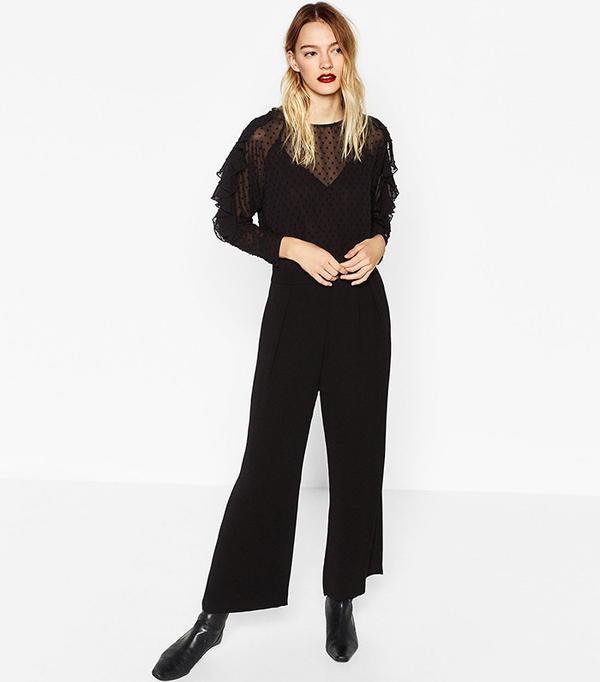 Zara Contrasting Plumetis Jumpsuit