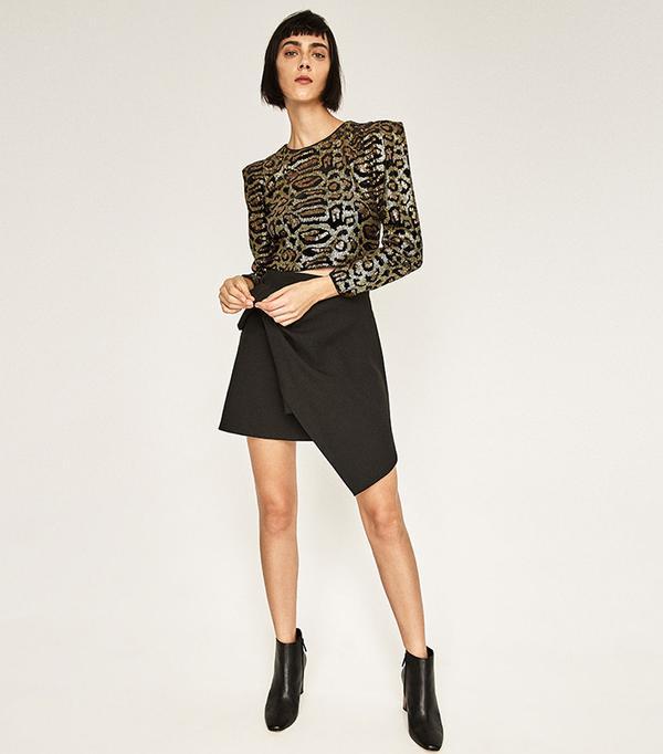 Zara Sequin Printed Top