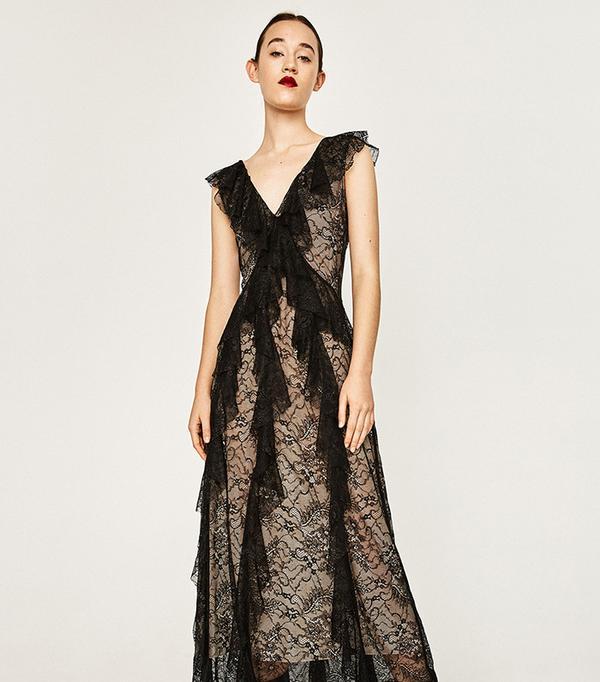 Zara Lace Studio Frilled Dress
