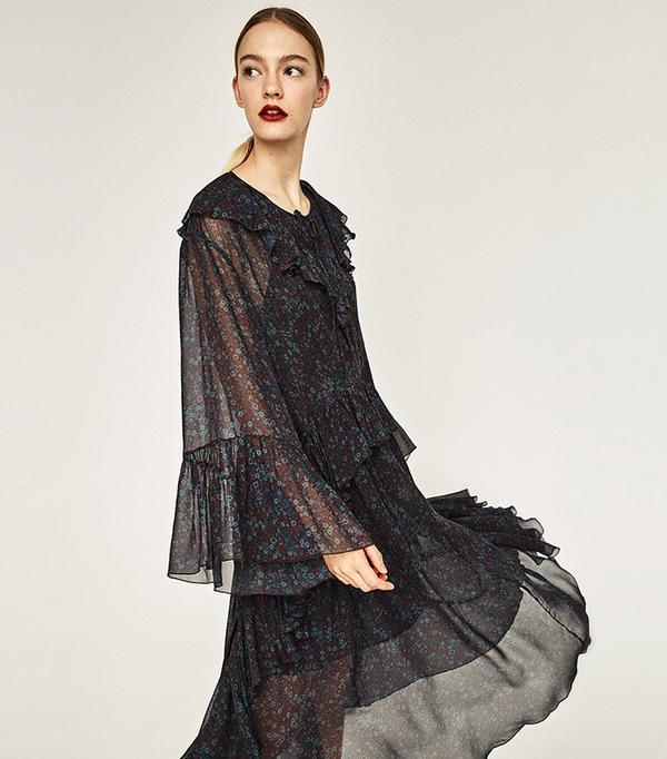 Zara Studio Midi Floral Dress