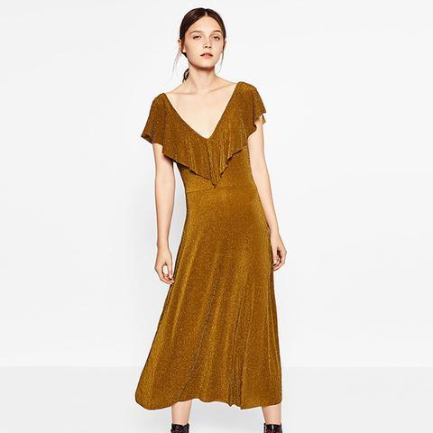 Frilled Shiny Dress