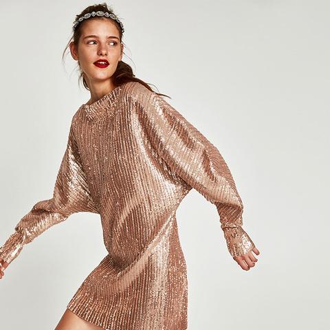 Sequinned Pleated Dress