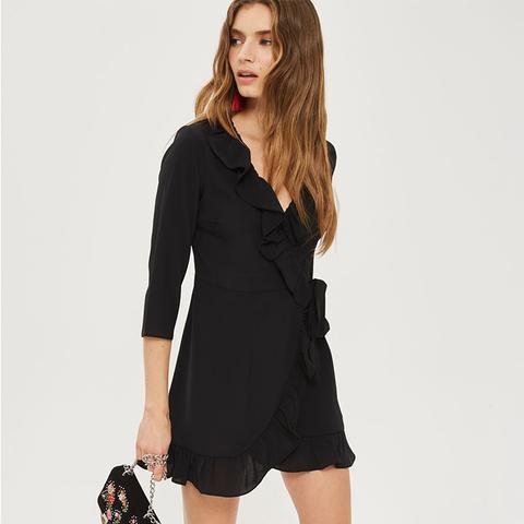 Crepe Wrap Mini Dress