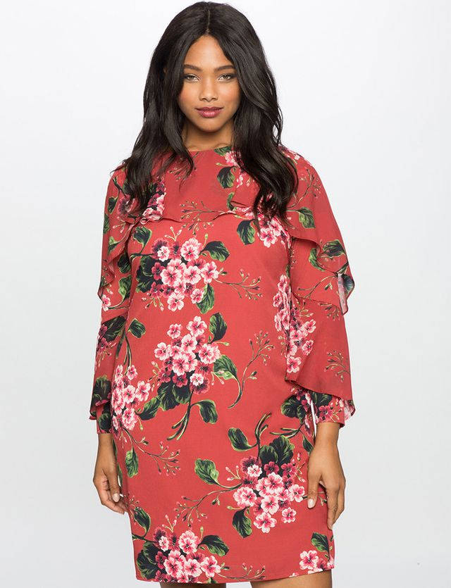 Eloquii Printed Dress with Wrap Around Ruffle