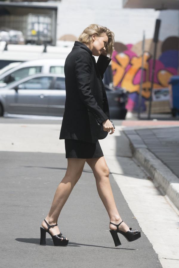 A black blazeralways makes you look elevated. The Saint Laurent heels add a new-season edge.