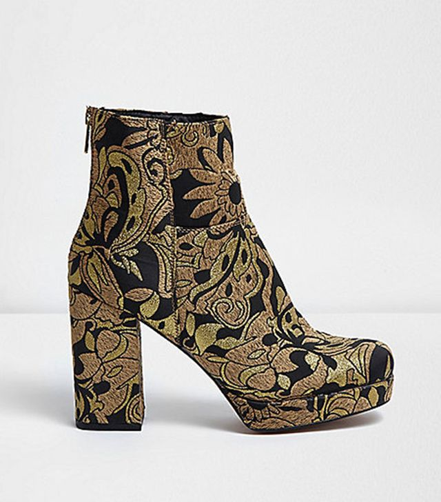 River Island Gold Embroidered Platform Boots