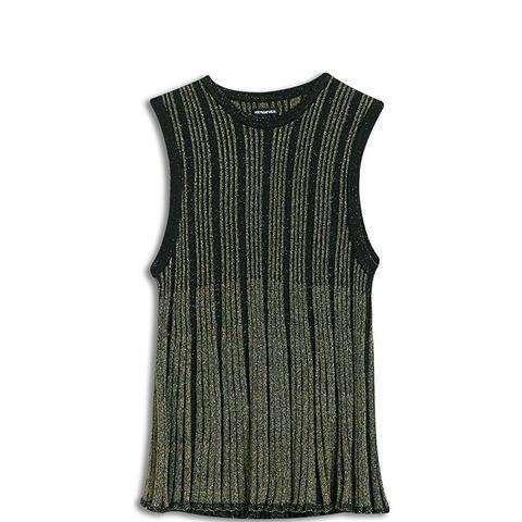 Plaited Metallic Swing Tank Sweater