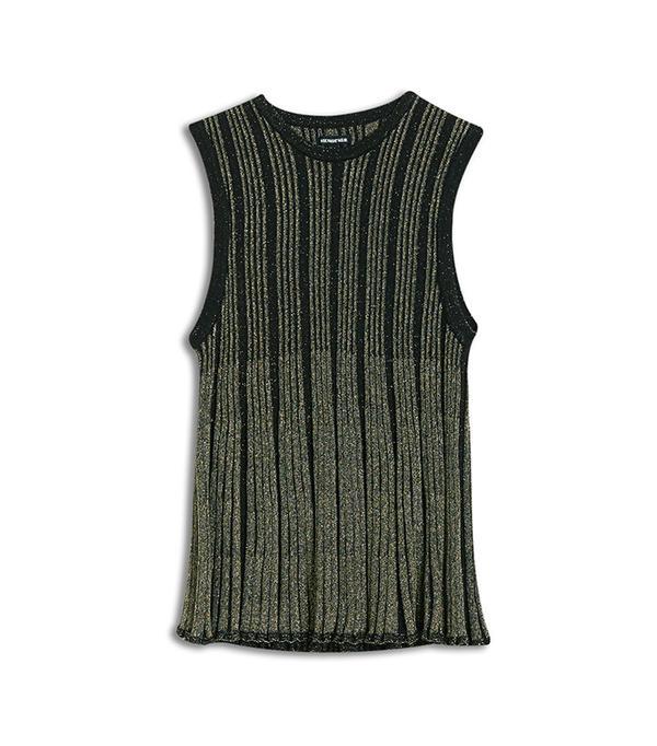 Who What Wear Plaited Metallic Swing Tank Sweater