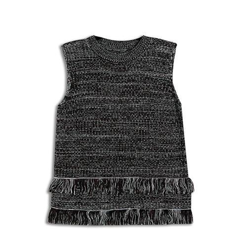 Sleeveless Fringe Tank Sweater