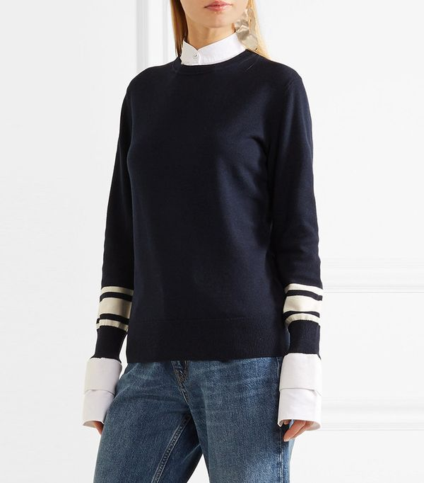 Victoria, Victoria Beckham Poplin-Trimmed Wool and Cotton-Blend Sweater