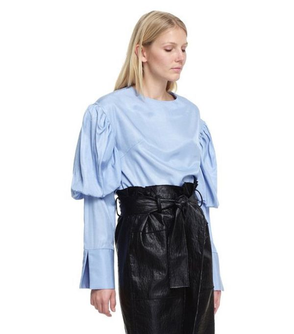 Style Mafia Collar Neck Blouse with Puffed Sleeves