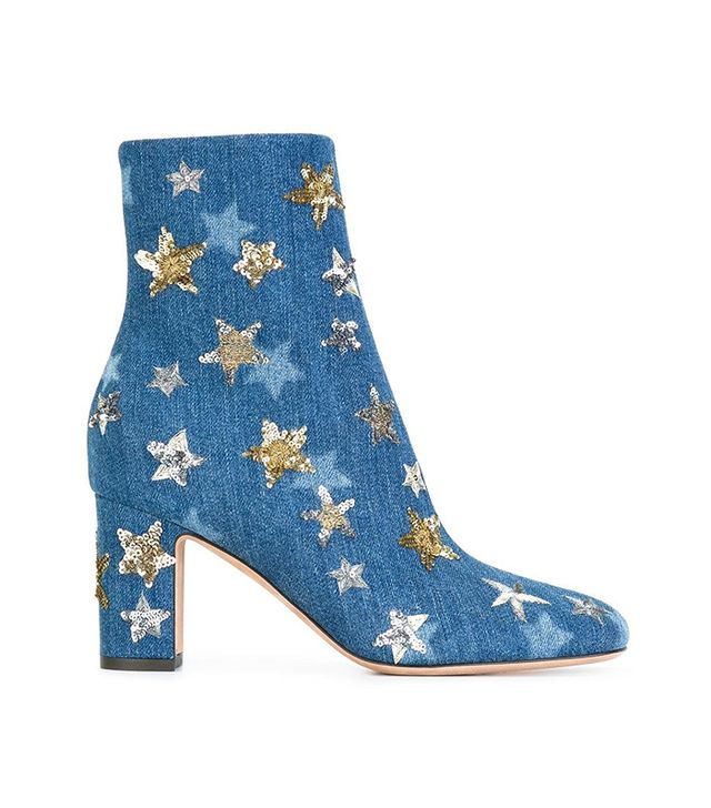 Valentino Star Embroidered Denim Ankle Boots