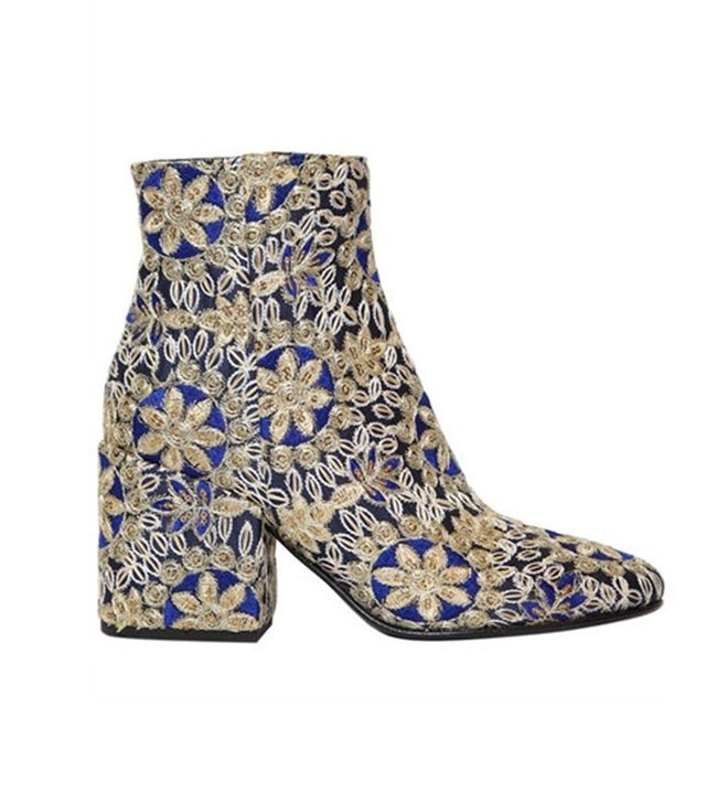 Strategia Embroidered Satin Ankle Boots