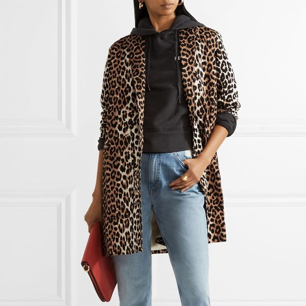 Ganni Leopard-Print Cotton-Twill Coat