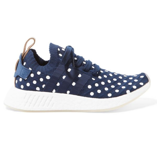Adidas Orginals NMD_R2 Leather-Trimmed Polka-Dot Primeknit Sneakers