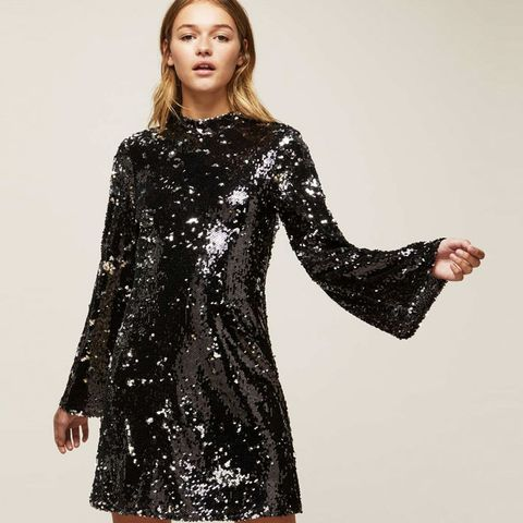 Premium Sequin Flute Sleeve Shift Dress