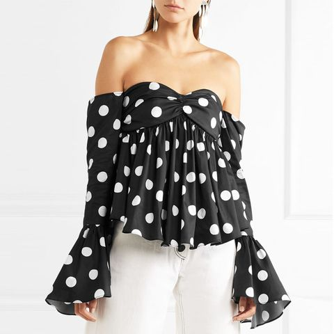 Off-the-Shoulder Polka-Dot Top