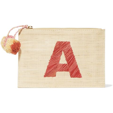 Alphabet Embroidered Woven Straw Pouch