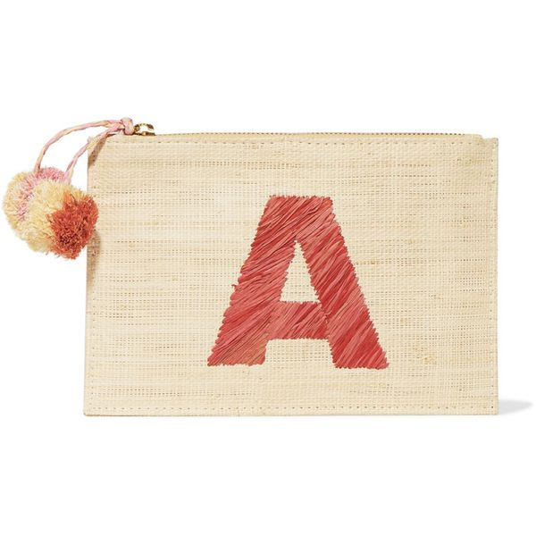 Kayu Alphabet Embroidered Woven Straw Pouch