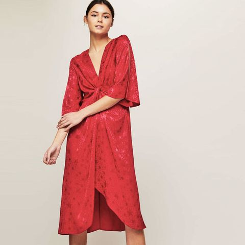 Red Wrap Star Jacquard Dress