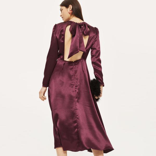 Topshop Shimmer Satin Midi Dress