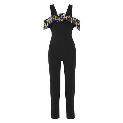 Off-The-Shoulder Embroidered Jumpsuit