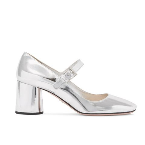Metallic Leather Mary Jane Pumps