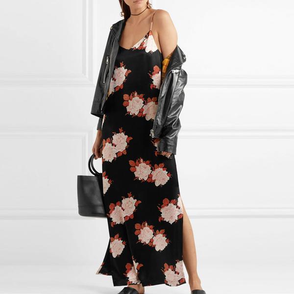 Ganni Floral-Print Satin Dress