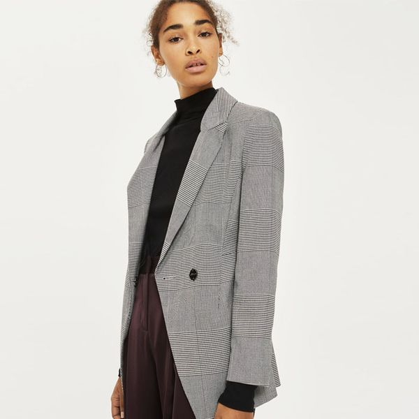 Topshop Power Shoulder Checked Jacket