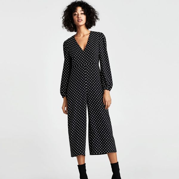 Zara Cropped Polka Dot Jumpsuit
